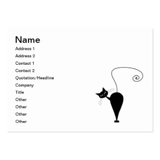 Black Whimsy Kitty 5 Large Business Cards (Pack Of 100)