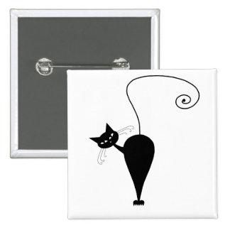 Black Whimsy Kitty 5 Pinback Button