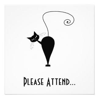 Black Whimsy Kitty 5 Custom Invites