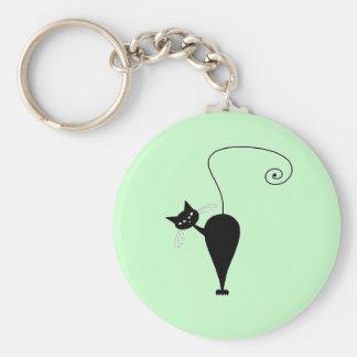 Black Whimsy Kitty 5 Keychain