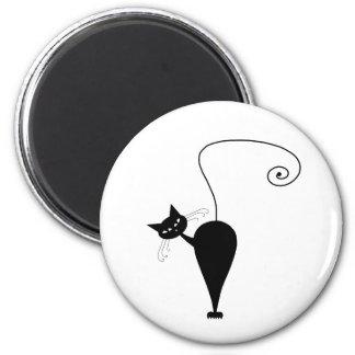 Black Whimsy Kitty 5 Fridge Magnet