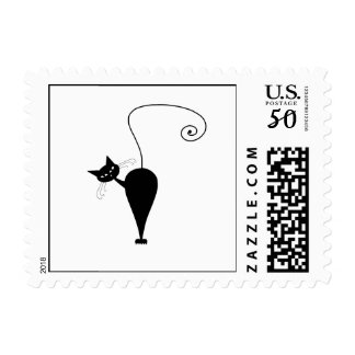 Black Whimsy Kitty 5 Postage
