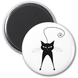 Black Whimsy Kitty 6 2 Inch Round Magnet