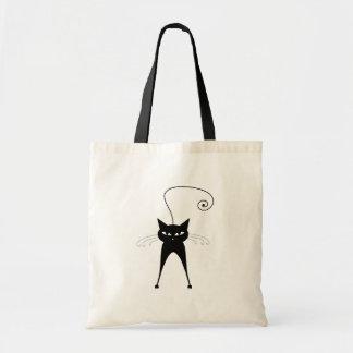 Black Whimsy Kitty 6 Budget Tote Bag