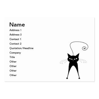 Black Whimsy Kitty 6 Large Business Cards (Pack Of 100)