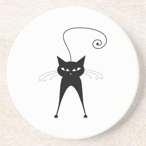 Black Whimsy Kitty 6 Coaster