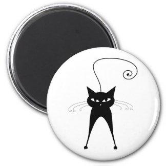 Black Whimsy Kitty 6 Fridge Magnets