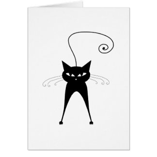 Black Whimsy Kitty 6 Greeting Card