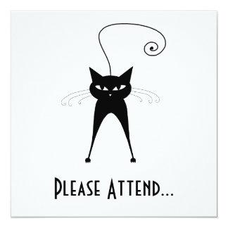 Black Whimsy Kitty 6 5.25x5.25 Square Paper Invitation Card