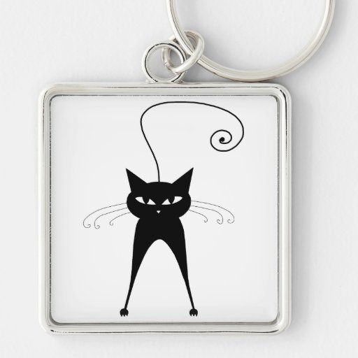 Black Whimsy Kitty 6 Silver-Colored Square Keychain