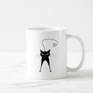 Black Whimsy Kitty 6 Classic White Coffee Mug