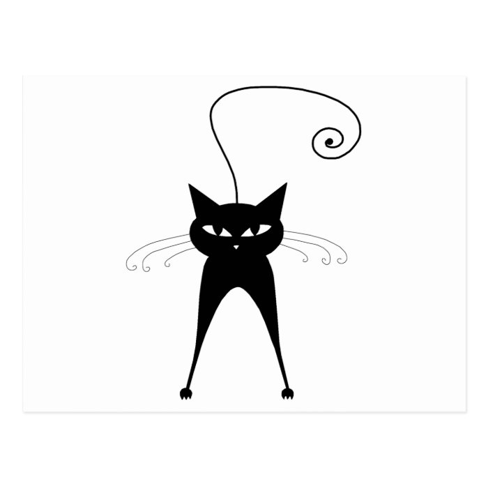 Black Whimsy Kitty 6 Postcard