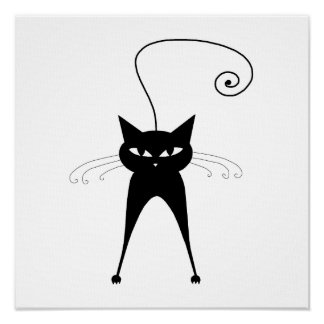 Black Whimsy Kitty 6 Print