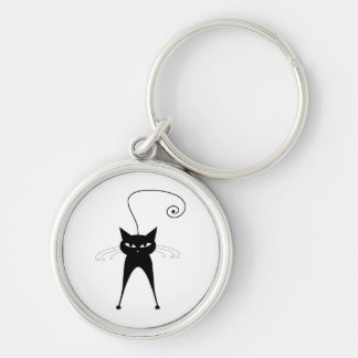 Black Whimsy Kitty 6 Silver-Colored Round Keychain
