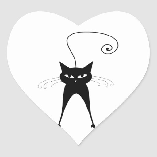 Black Whimsy Kitty 6 Heart Sticker