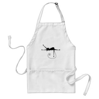 Black Whimsy Kitty 7 Adult Apron