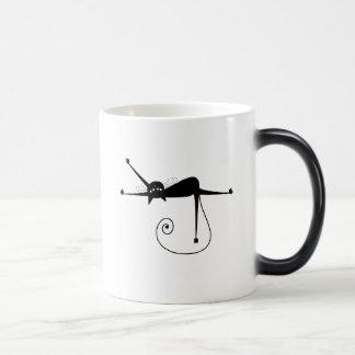 Black Whimsy Kitty 7 Coffee Mugs