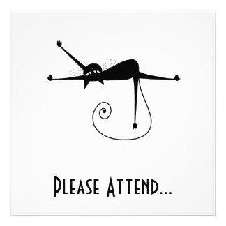 Black Whimsy Kitty 7 Custom Invitations