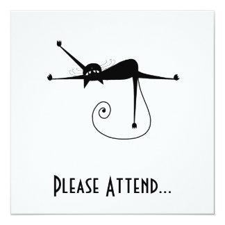 Black Whimsy Kitty 7 5.25x5.25 Square Paper Invitation Card