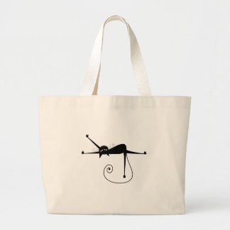 Black Whimsy Kitty 7 Large Tote Bag