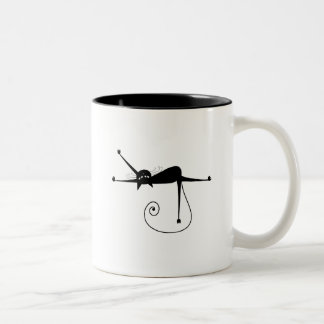 Black Whimsy Kitty 7 Two-Tone Mug