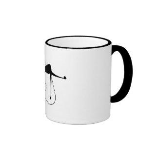 Black Whimsy Kitty 7 Ringer Coffee Mug