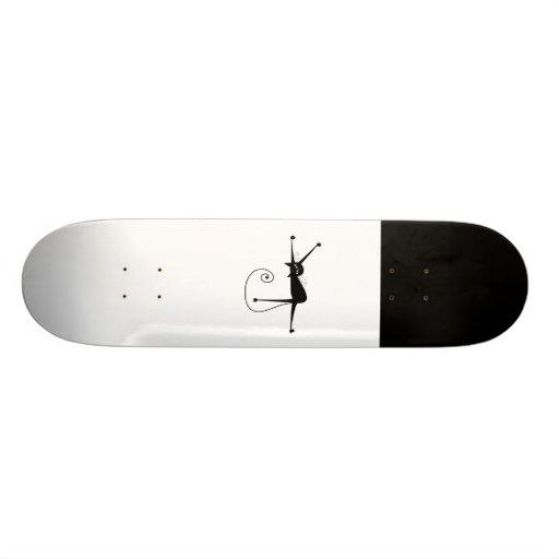 Black Whimsy Kitty 7 Skate Deck