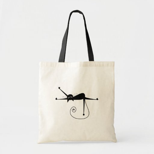 Black Whimsy Kitty 7 Tote Bags