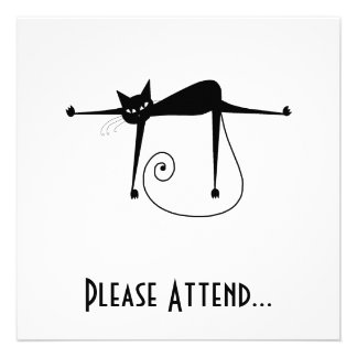 Black Whimsy Kitty 8 Personalized Invitation