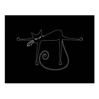 Black Whimsy Kitty 8 Postcard