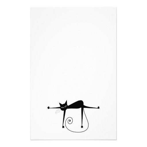 Black Whimsy Kitty 8 Stationery Paper