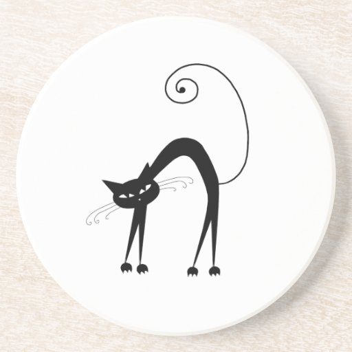 Black Whimsy Kitty 9 Drink Coaster