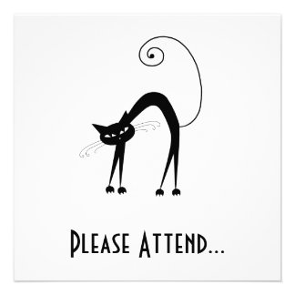 Black Whimsy Kitty 9 Personalized Invites