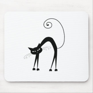 Black Whimsy Kitty 9 Mouse Pad
