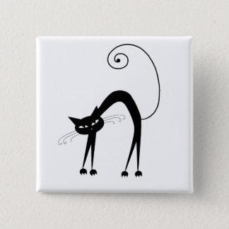 Black Whimsy Kitty 9 Pinback Button