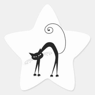 Black Whimsy Kitty 9 Star Sticker