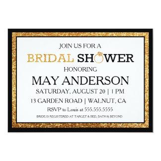 Black & Whit Gold Glitter Bridal Shower Invitation
