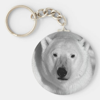 Black & Whit Polar Bear Basic Round Button Keychain