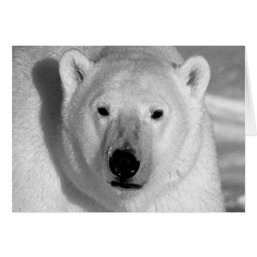 Black & Whit Polar Bear Greeting Card