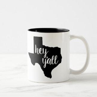 Black/White 11 oz Mug - Texas Hey Y'all