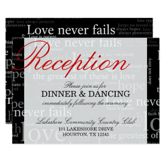 Black & White 1 Corinthians 13 Reception Card