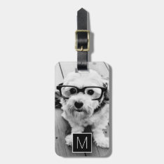 Black & White 1 Photo Collage Custom Monogram Bag Tag at Zazzle