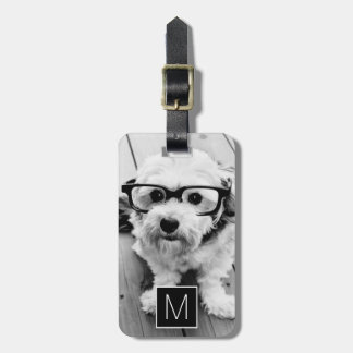 Black & White 1 Photo Collage Custom Monogram Bag Tag