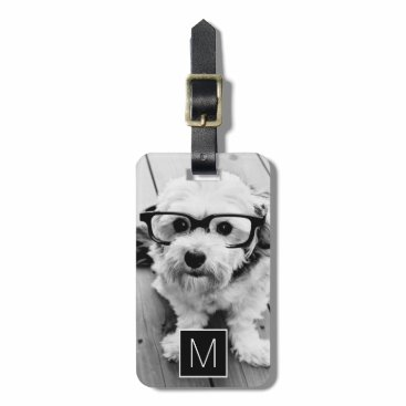 MarshEnterprises Black & White 1 Photo Collage Custom Monogram Bag Tag