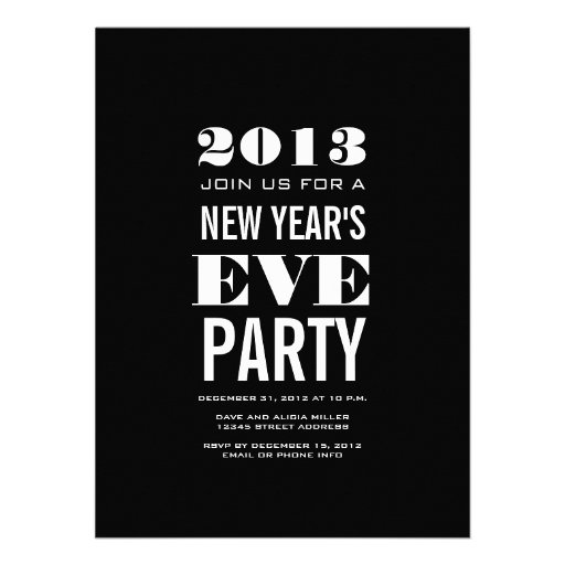 Black White 2013 New Year's Eve Party Invitation