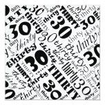 Black & White 30th Birthday Party Invitation