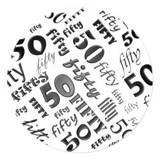 Black & White 50th Birthday Party Invitation