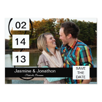 Black White 5x7 Photo Save the Date Wedding Cards