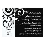 Black+White 5x7 Reverse Swirl 40 Party Invitations