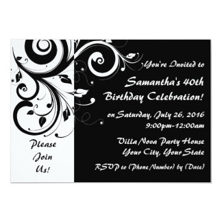 Black+White 5x7 Reverse Swirl 40 Party Invitations